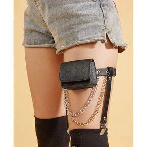 BLACK Garter Belt Chain Bag NEW